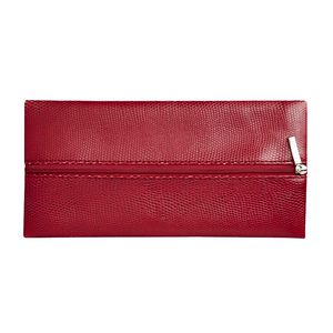 Flat Centre Zip Pencil Case Red