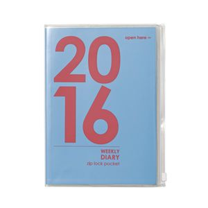 Otto A5 Week to View 2016 PVC Jacket Diary Blue