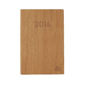 Ampersand A5 Week to View 2016 Printed Woodgrain Diary Brown