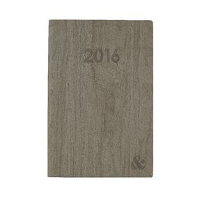 Ampersand A5 Week to View 2016 Printed Woodgrain Diary Grey