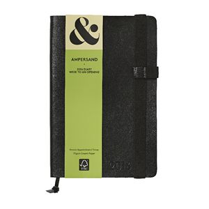 Ampersand A5 Week to View 2016 Split Leather Diary Black
