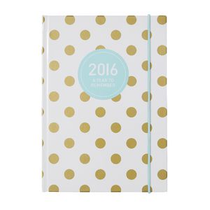 Otto A5 Week to View 2016 Diary Gold Polka Dot