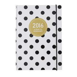 Otto A5 Week to View 2016 Diary Black Polka Dot