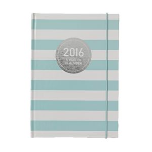 Otto A5 Day to Page 2016 Diary Teal Stripe