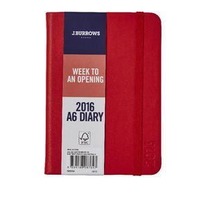 J.Burrows A6 Week to View 2016 Fun PU Diary Red