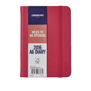 J.Burrows A6 Week to View 2016 Fun PU Diary Pink