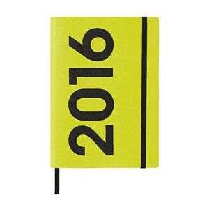 J.Burrows A5 Week to View 2016 Neon PU Diary Lime