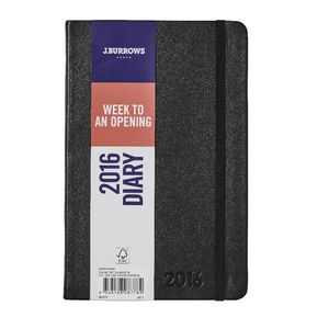 J.Burrows A5 Week to View 2016 PU Diary Black