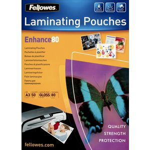 Fellowes A3 80 Micron Laminating Pouch Gloss 50 Pack
