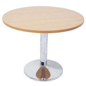 Rapidline Chrome Base Meeting Table 900mm Round Beech