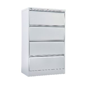 GO 4 Drawer Lateral Filing Cabinet Silver