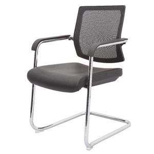 Rapidline Visitor Chair Leather and Mesh Black