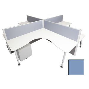 Rapid Screen 4 Person Workstation Blue Screen White Top