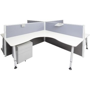 Rapid Screen 4 Person Workstation Grey Screen White Top