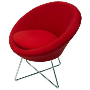 Rapidline Splash Cone Lounge Chair Chrome Cross Frame Red