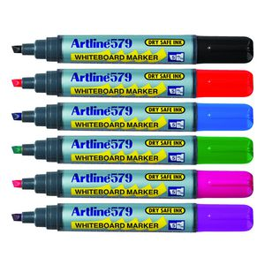 Artline 579 Whiteboard Markers Assorted Colours 6 Pack