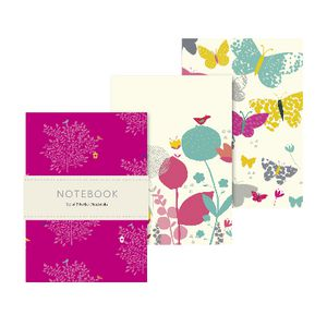 Go Stationery Pocket Notebooks Meadow Butterfly 3 Pack