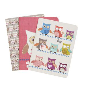 Go Stationery Pocket Notebooks Owls 3 Pack