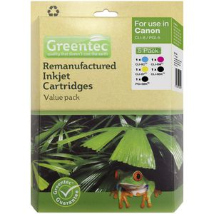 Greentec Canon CLI-8 Black and Colour 5 Ink Value Pack