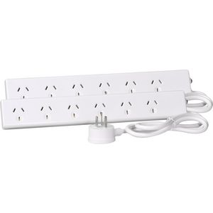HPM Overload Protected 6 Outlet Powerboard Twin Pack