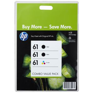 HP 61 Black and Colour Ink Cartridges Combo Value 3 Pack