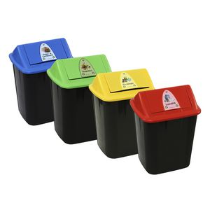 Italplast Colour-coded Waste Separation Bins 4 Pack