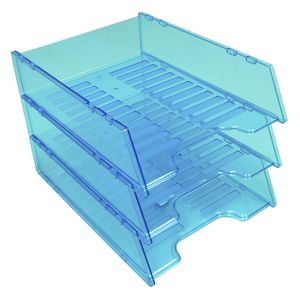 Italplast A4 Document Tray Tinted Neon Blue