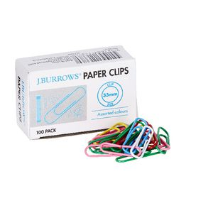 J.Burrows 33mm Paper Clips Coloured 100 Pack