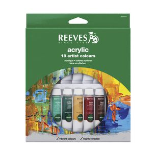Reeves Acrylic Colour Paint Set 10mL 18 Pack