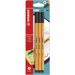 Stabilo Point 88 0.4mm Fineliner Black 3 Pack