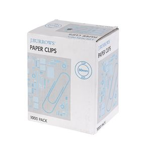 J.Burrows 50mm Paper Clips 1000 Pack