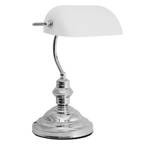 Jastek Chrome Bankers Lamp With White Glass Shade.