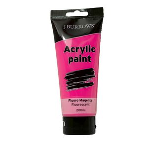 J.Burrows Acrylic Paint 200mL Fluoro Magenta