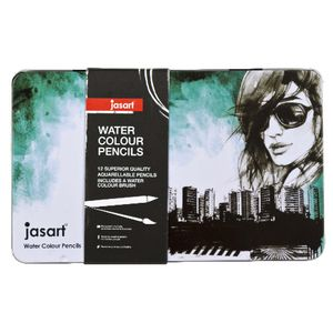 Jasart Watercolour Pencils in Tin 12 Pack