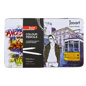 Jasart Colour Pencils in Tin 12 Pack