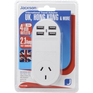 Jackson Outbound UK Travel Adaptor with 4 USB Ports