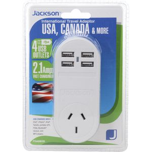 Jackson Outbound USA Travel Adaptor with 4 USB Ports