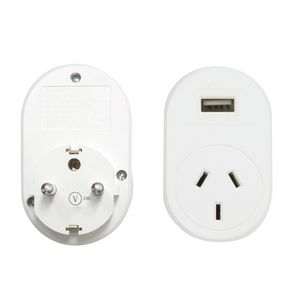 Jackson International Travel Adaptor + USB Charging Outlet suits Europe, Bali