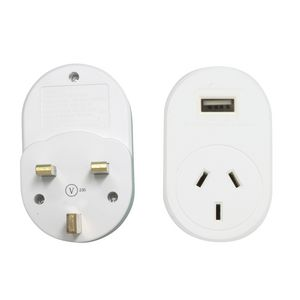 Jackson International Travel Adaptor + USB Charging Outlet suits UK, Hong Kong
