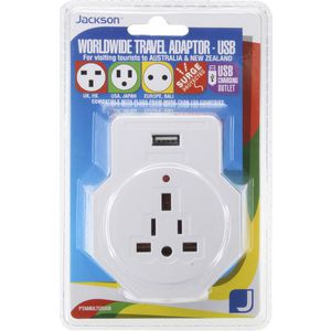 Jackson Inbound Travel Adaptor with Surge Protection and USB