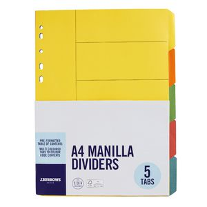 J.Burrows A4 5 Tab Dividers Bright Colours