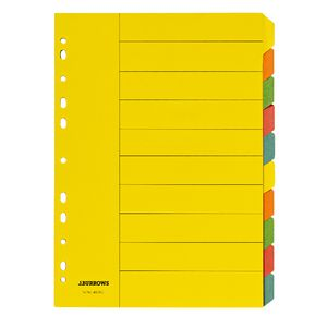 J.Burrows A4 10 Tab Dividers Bright Colours