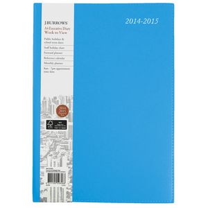 J.Burrows A4 Week to View Executive Financial Diary Blue