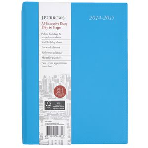 J.Burrows A5 Day to Page Executive Financial Diary Blue