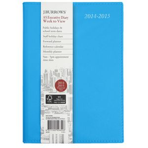 J.Burrows A5 Week to View Executive Financial Diary Blue