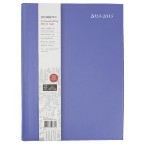 J.Burrows A4 Day to Page Executive Financial Diary Purple
