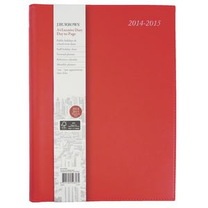 J.Burrows A4 Day to Page Executive Financial Diary Red
