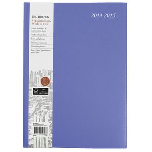 J.Burrows A4 Week to View Executive Financial Diary Purple