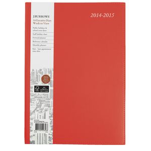 J.Burrows A4 Week to View Executive Financial Diary Red