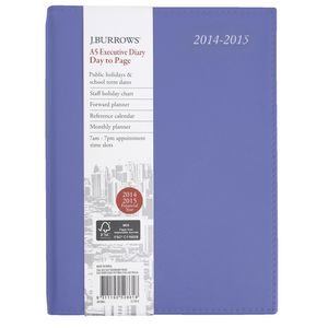J.Burrows A5 Day to Page Executive Financial Diary Purple